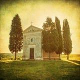 Сценарный тосканский взгляд, della Madonna di Vitaleta Cappella Стоковые Фотографии RF