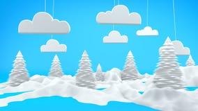 Сцена ландшафта 3D зимы Стоковая Фотография