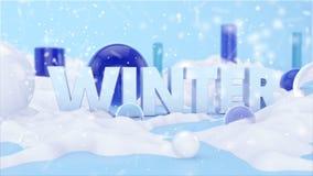 Сцена ландшафта 3D текста зимы Стоковые Фото