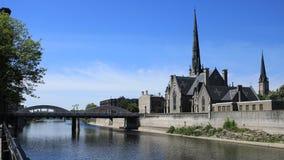 Сцена большим рекой, timelapse 4K Кембриджа, Канады сток-видео
