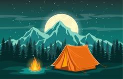 Сцена вечера приключения располагаясь лагерем