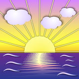 Сцена восхода солнца моря вектора абстрактная иллюстрация вектора
