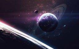 Сцена вселенной с планетами, звездами и галактиками в космическом пространстве показывая красоту космического исследования Элемен Стоковое фото RF