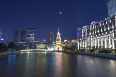 Сцена в бунде, Шанхай ночи Стоковые Фотографии RF