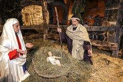 Сцена в реальном маштабе времени рождества сыгранная местными жителями Reenactment жизни Иисуса с старыми ремеслами и таможни про стоковое изображение rf