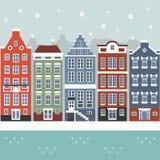Сцена города зимы Амстердама Стоковое Изображение RF