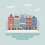 Сцена города зимы Амстердама Стоковые Фотографии RF