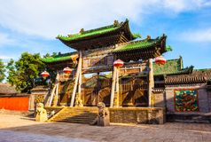 Сцена городка Yuci старая. Конфуцианское здание виска (святыни). стоковое изображение rf