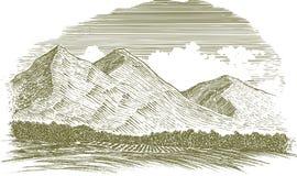 Сцена горы Woodcut сельская Стоковые Фотографии RF