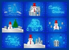 Сцена дня Chirstmas на голубой предпосылке с снеговиком, деревом, sn стоковая фотография rf