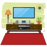 Сцена домашнего офиса с компьютером, деревянным столом и стулом Стоковое фото RF