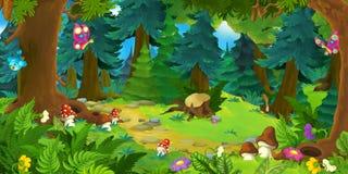 Сцена леса шаржа - предпосылка для различных сказок Стоковое Фото