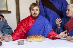 Сцена жизни Иисуса 16 2011 актера artur -го апрель направили учеников его piotrowski фото страсти тайны jesus зрелище warsaw Поль стоковые изображения rf