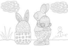 Сцена зайчика пасхи и пасхального яйца с картинами иллюстрация вектора