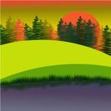 Сцена захода солнца с пальмами Стоковое Изображение RF