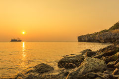 Сцена захода солнца Стоковая Фотография