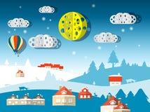 Сцена зимы вектора иллюстрация вектора