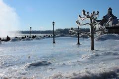 Сцена зимы в Ниагарском Водопаде Стоковое Изображение RF