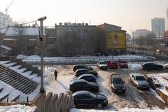 Сцена зимы города Сараева стоковое фото rf