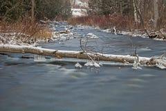 Сцена зимы долгой выдержки на реке кредита стоковое фото rf