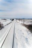 Сцена зимы линии Senmo в Shiretoko, Хоккаидо Японии Стоковые Фотографии RF