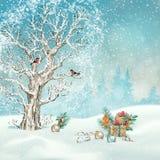 Сцена зимы рождества бесплатная иллюстрация