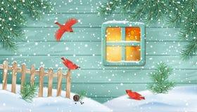 Сцена зимы снежная иллюстрация штока