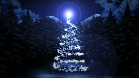 Сцена зимы с предпосылкой ночного неба и рождеством снега Нового Года леса Рождественская елка снега Анимация CG петли бесплатная иллюстрация