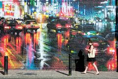 Сцена искусства улицы настенной росписи Стоковая Фотография RF