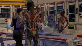 Сцена киборга научной фантастики с пленником Стоковые Изображения RF