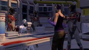 Сцена киборга научной фантастики с пленником Стоковое фото RF