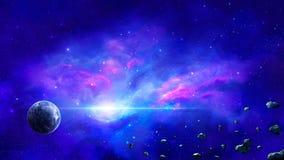 Сцена космоса Красочное межзвёздное облако с планетой и астероидом Элементы обеспечили NASA r стоковая фотография rf