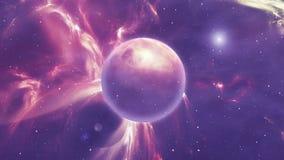 Сцена космоса с планетами и межзвёздным облаком