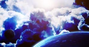 Сцена космоса с планетами и межзвёздным облаком Стоковые Изображения RF