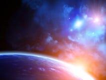 Сцена космоса с планетами и межзвёздным облаком Стоковая Фотография