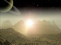 Сцена космоса фантазии планеты чужеземца Стоковая Фотография RF