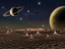 Сцена космоса фантазии планеты чужеземца Стоковые Фотографии RF