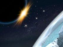 Сцена космоса фантазии планеты чужеземца Стоковое Изображение