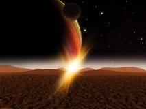 Сцена космоса фантазии планеты чужеземца Стоковое фото RF
