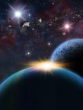 Сцена космоса фантазии планеты чужеземца Стоковое Изображение RF