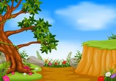 Сцена леса с скалой горы иллюстрация вектора