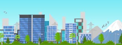 Сцена лета панорамы города мультфильма на открытом воздухе r иллюстрация вектора