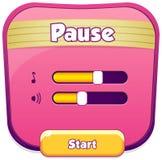 Сцена меню перерыва хлопает вверх с ядровой музыкой и кнопками бесплатная иллюстрация