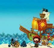 Сцена мультфильма пляжа около моря или океана - капитана пирата на береге с карамболем и сундуком с сокровищами - пиратский кораб иллюстрация вектора