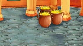 Сцена мультфильма со средневековой арабской комнатой с сокровищами - Дальним востоком орнаментирует - этап для различного использ иллюстрация штока