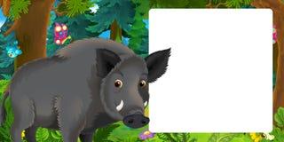 Сцена мультфильма со счастливым положением дикого кабана в лесе - с космосом для текста бесплатная иллюстрация