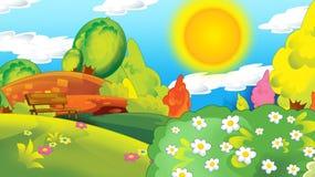 Сцена мультфильма счастливая и смешная с детьми в парке имея потеху бесплатная иллюстрация
