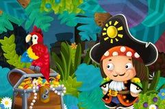 Сцена мультфильма с пиратом и сокровищем и попугаем в джунглях бесплатная иллюстрация