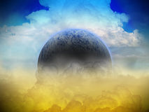Сцена научной фантастики планеты чужеземца Толкование художника Стоковые Фотографии RF