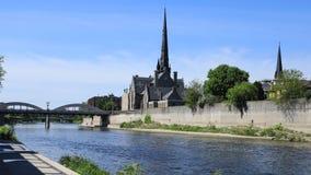 Сцена на большом реке, timelapse 4K Кембриджа, Канады видеоматериал
